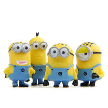 4pcs/lot Yellow Minion Rompers Miniature Figurines Toys Cute Lovely Model Kids Toys 3.8cm PVC Anime Children Figure(China)