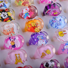Wholesale 50PCS Jewelry Mixed Lots Resin Lucite Children Kid Rings Cartoon Pattern Heart Shape Ring Gift Cheap Drop Ship Free