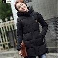 Новый 2016 Зимнее Пальто Женщин Верхняя Одежда Пальто Женская куртка толщиной полный рукав кнопка карманы теплый моды случайные Куртки