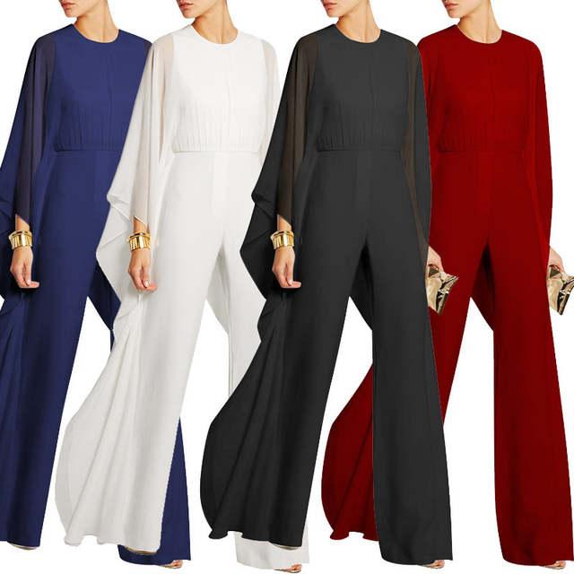 Online Shop Women Jumpsuits Long Pants Romper Chiffon Ruffle Flare