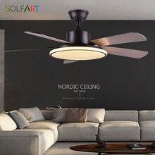 Потолочный вентилятор, светильник в скандинавском стиле, современная столовая, спальня, гостиная, ресторан, вентилятор из цельного дерева, лампа