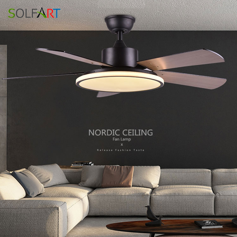 Ceiling Fan Light Nordic Modern Dinning Room Bedroom Living Room Restaurant Solid Wood Fan Lamp Free Shipping