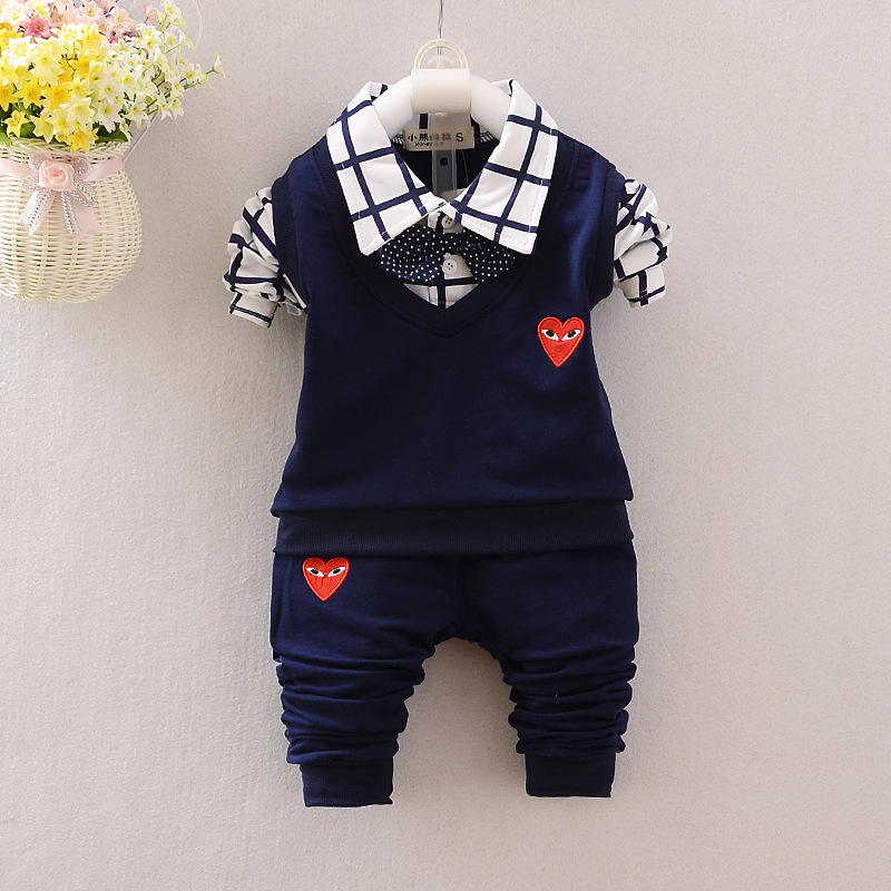 Spring Autumn Baby Boys Clothes Set Kids Long Sleeve Plaid Tie Shirt+ Casual Pants Children Suit Kids Boy Suit Clothing Set new 2014 spring autumn girls cartoon spider man suit boy long sleeve pants clothing set high quality baby kids casual clothing
