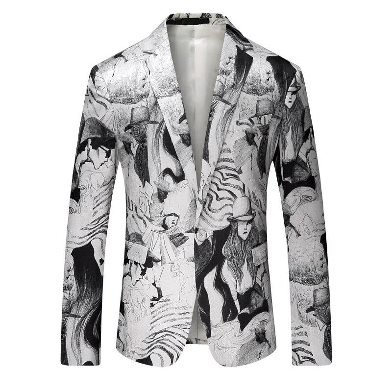 2017 nouveaux hommes blazer loisirs haute qualité costumes peinture à l'encre motif décoratif blazers hommes vestes, hommes flanelle blazers - 6
