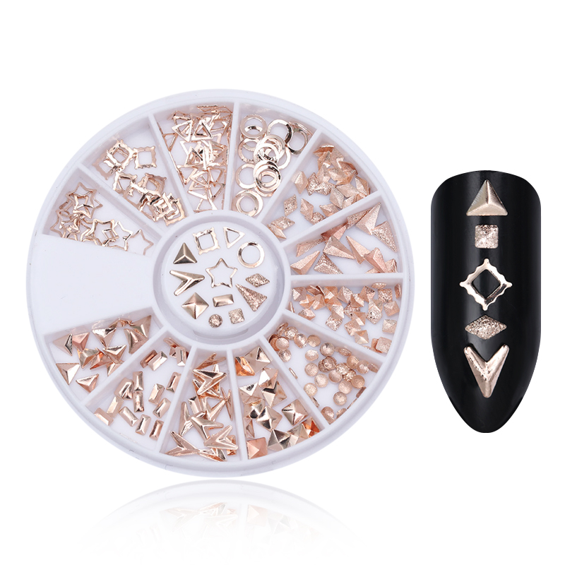 Nail Rhinestones Studs 3D Nail Art Decoration Rose Gold Rivet Marquise Circle Star Round Square Triangle Mixed Accessories 1000pcs lot ab color marquise nail art rhinestones women decoration diy nail jewelry accessories 3d nail art supply tools wy505
