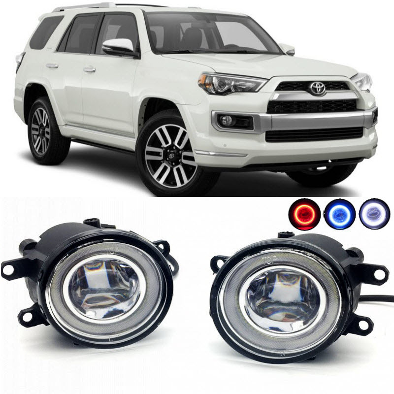 2 in 1 LED Angel Eyes DRL 3 Colors Daytime Running Lights Cut-Line Lens Fog Lights Lamp for Toyota 4Runner 4 Runner 2010-2017 for opel astra h gtc 2005 15 h11 wiring harness sockets wire connector switch 2 fog lights drl front bumper 5d lens led lamp