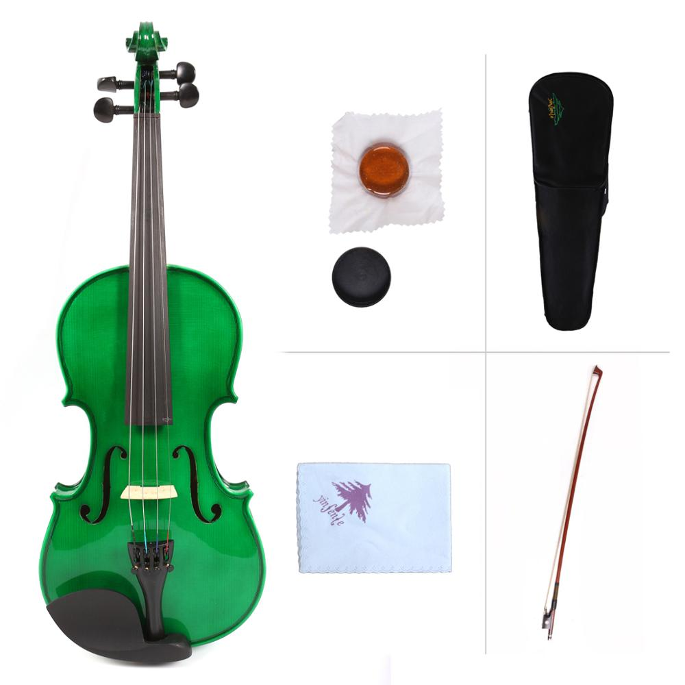 Yinfente Green Acoustic Violin 4/4 Spruce+maple handmade Free Case+Bow#VL1