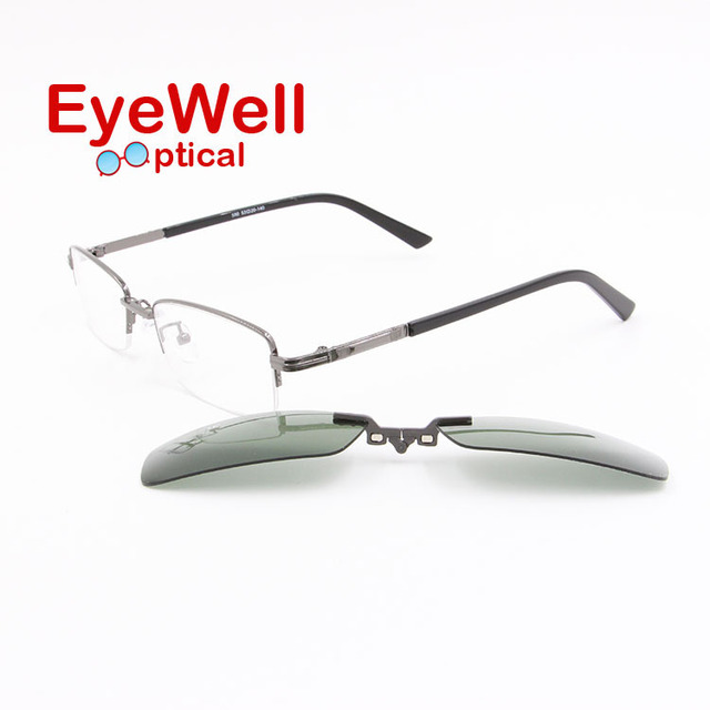 Metal half frame optical frame myopia eyeglasses with magnetic polarized clip on sunglasses metal optical frames cheap price 590