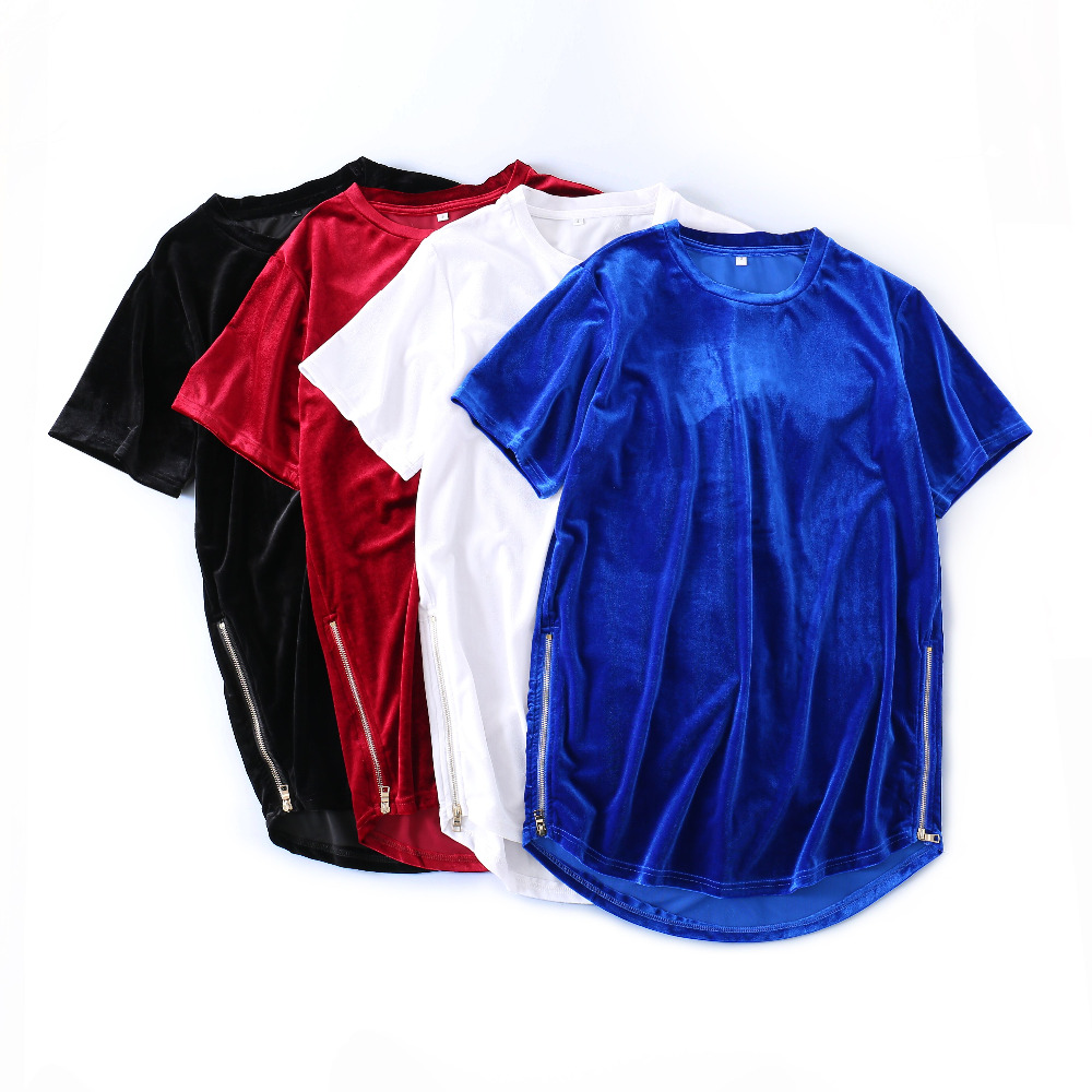 Kanye West Streetwear Men's Velvet T-Shirt Oversized Side Zipper Tee Arc Hem Red/Blue/Black Short-Sleeve Velvet TShirts Hip-hop
