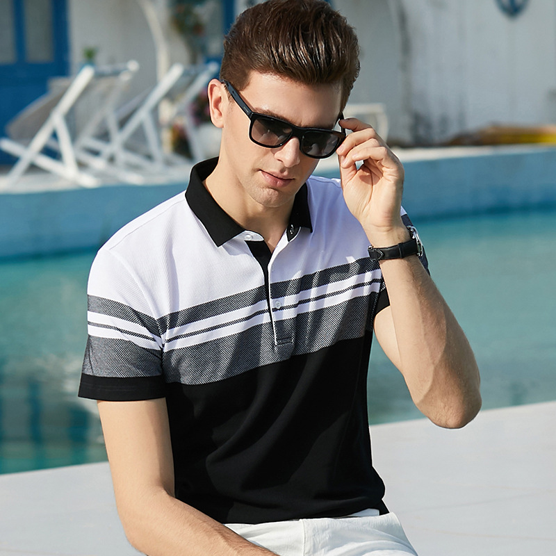 2019 Brand clothing summer   polos   shirt men short sleeve fashion cotton striped turn-down collar mens homme camisa plus size XXXL