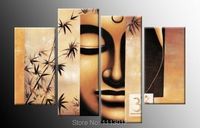 New People Buddha Head Face Tree Oil Painting On Canvas 4 Panel Art Set Modern Home Abstract Wall Decor Picture for Living Room