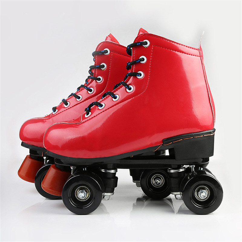 Professional New Double Row Figure Roller Skates Two Line Roller Skate Female Patines Adulto Red Skating Shoes Rink Special IB19 black roller skates double line skates men women lady model adult pink f1 racing 4 wheels two line roller skating shoes patines