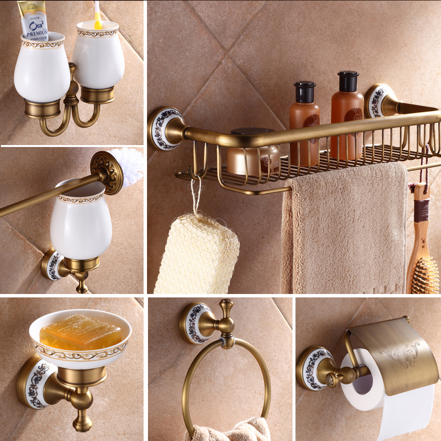 Antique Brass Luxury Bathroom Accessory paper Holder Toilet Brush Rack Commodity Basket Shelf Soap Dish Towel Ring ce emc lvd fcc ozonator therapy equipment