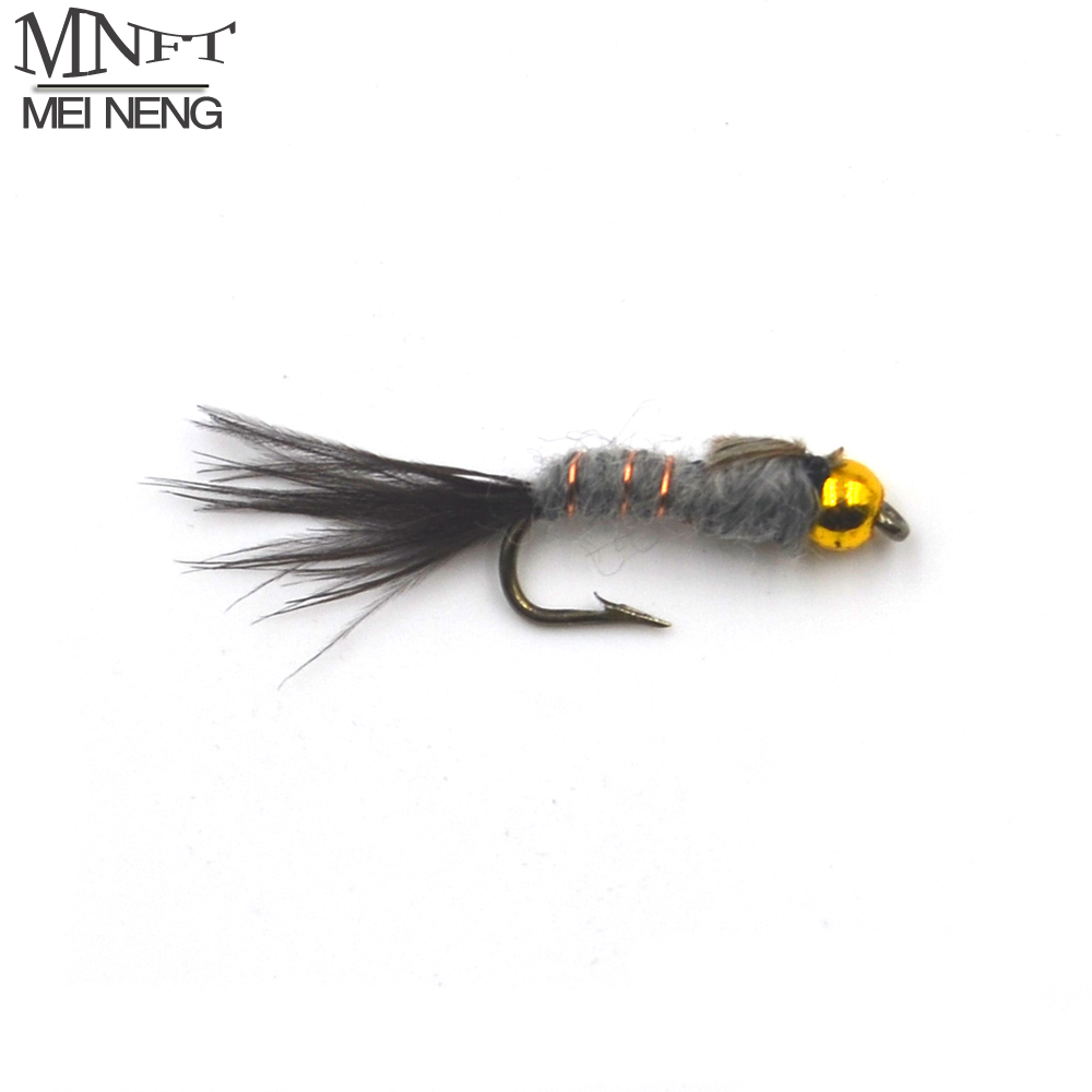MNFT 10PCS 12# Golden Bead head Grey Hare's Ear Black Tail Nymph Fly Trout Fly Fishing Baits 12pcs 14 red tail bead head buzzer nymph fly for trout fishing lures