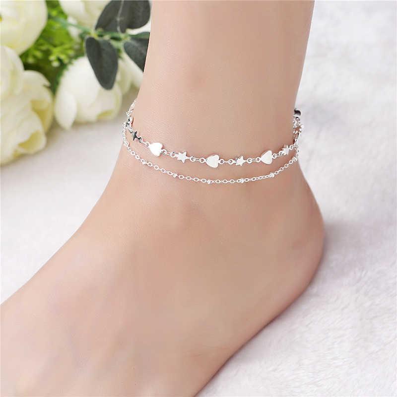 אופנה 925 צמיד כסף בסדר תכשיטי לב רגל שרשרת לנשים ילדה S925 כסף קרסול שרשרת רגל צמיד SB090