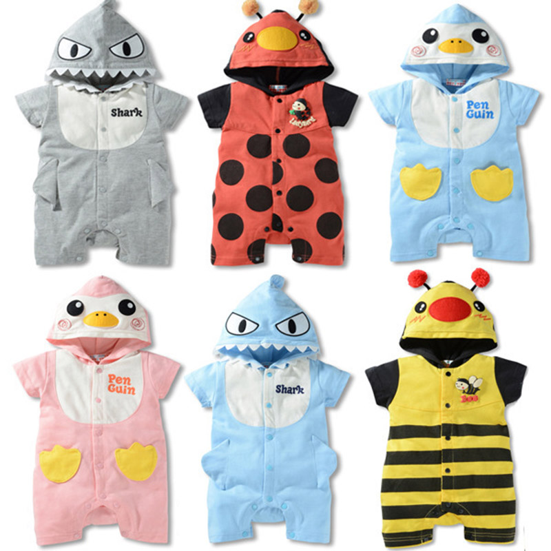 Newborn Baby Rompers Honey Baby Girls Jumpsuits Roupas Bebe Short Sleeve Animals Hooded Baby Rompers Summer Baby Boy Clothing 2017 baby romper girl and boy short sleeve monkey print summer clothing for newborn next jumpsuits