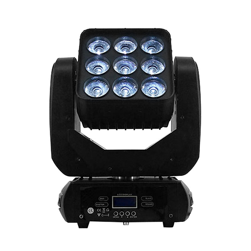 LED Moving Head 9x12W RGBW 4in1 Color Lighting DMX512 For Atmosphere Of Disco DJ Music Party Club Floor BAR Darkening Effect