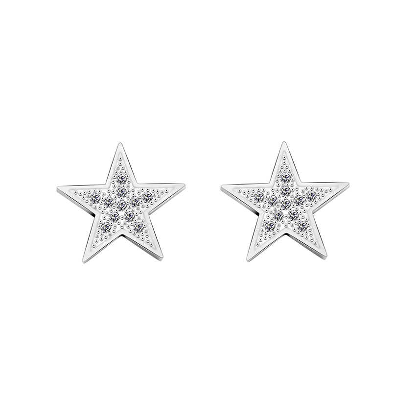 Gold Color Cubic Zirconia Star Crystal Stud Earrings For Women Ear Accessories Jewelry Fashion Simple Pentagram Aretes De Mujer