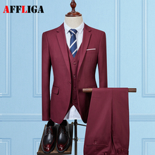 (Jacket+Vest+Pants) 2017 High quality Men Brand Suits Fashion Men's Slim Fit business wedding Suit men Tuxedos Wedding suit