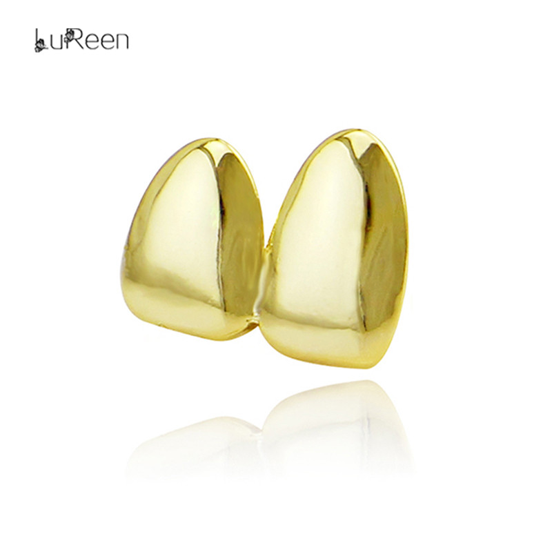 LuReen Fashion Gold Teeth Grills Top Double Teeth Caps  Grills Dental Cosplay Tooth Grill Body Jewelry Party XHYT1063