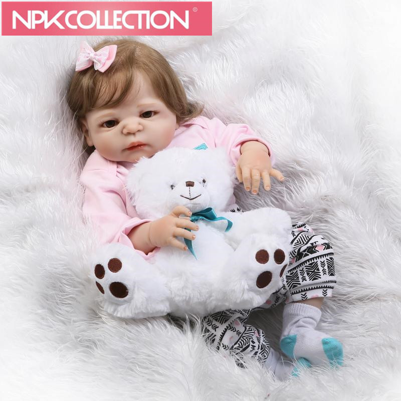 Realistic Reborn Baby Dolls Girl 23 Inch Full Body Silicone Vinyl Lifelike Baby Alive Dolls Playmates For Kid N36-37 23 russian silicone reborn baby girl full body vinyl dolls touch real baby dolls lifelike real hair new 2017 kids playmates