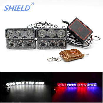 SHIELD 4X LED DRL Daytime Running Light Bar Car Styling 8 Mode Strobe Flash Warning Work Lamp Day Headlight With Controller