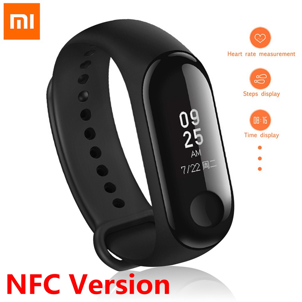 Original Xiaomi Mi Band 3 NFC Version Smart Bracelet Fitness Tracker 0.78 Big Touch Screen Heart Rate Monitor Smart Wristband