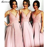 Satin A Line V Neck Floor Length Blush Bridesmaid Dress with Beading Wedding Party Dresses Cheap Bridesmaid Dresses