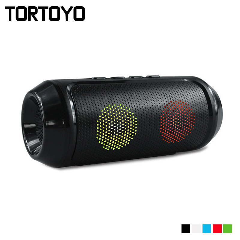 TORTOYO Super Bass Colorful LED Wireless Bluetooth Speaker Portable Stereo Subwoofer Support TF Card U Disk FM Radio Handsfree