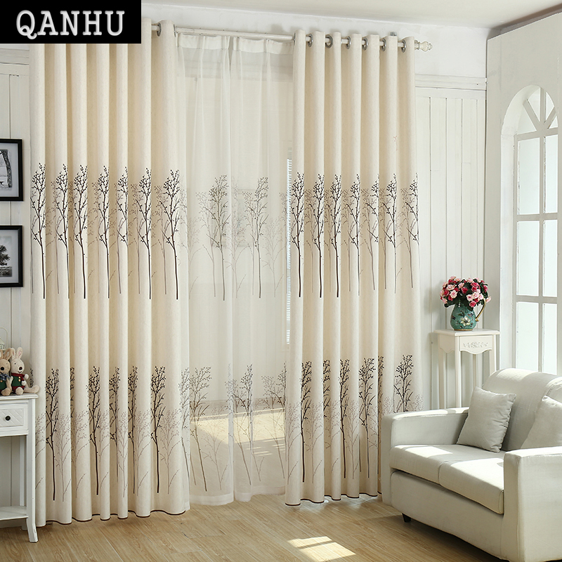 QANHU Curtains On The Door Window Rideau Portera Raffrollo Blackout Curtain  For Living Room Window Custom