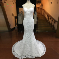 Giấc mơ Thiên Thần Vestido De Noiva Sweetheart Ren Mermaid Wedding Dresses 2017 Spaghetti Dây Đeo Flowers Vintage Bridal Gown Cộng Với Kích Thước