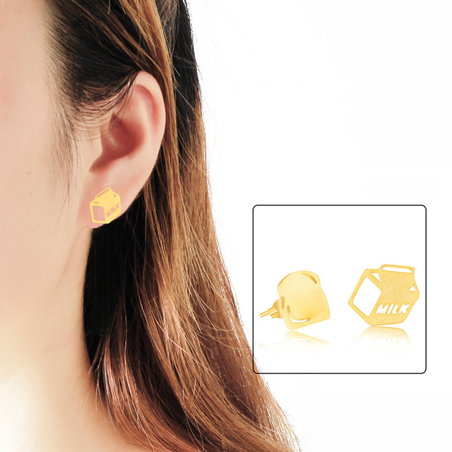 Wholesale 10pcs/<font><b>lot</b></font> <font><b>Fun</b></font> <font><b>Jewelry</b></font> Milk Box And Bread Earrings Gold Color Stainless Steel Statement Earrings For Women Oorbellen image