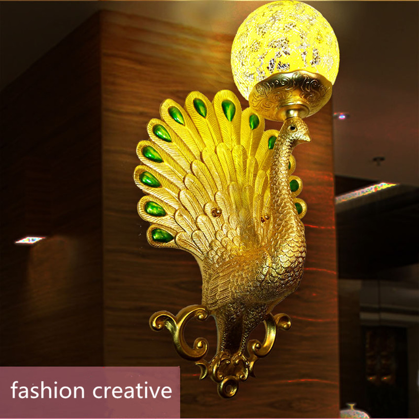 European style retro aisle living room bedroom bedside mirror front lamp high - grade atmospheric peacock crystal project LED european retro peacock resin wall aisle living room bedroom decoration lamp size 40 49cm ac110 240v