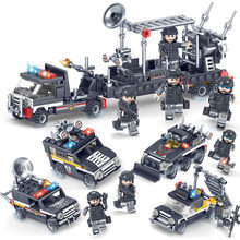 363pcs LegoINGlys Military Police Station SWAT Military Series 3D Model Building Blocks DIY Truck Armored Car City Boy Toy Gift(China)