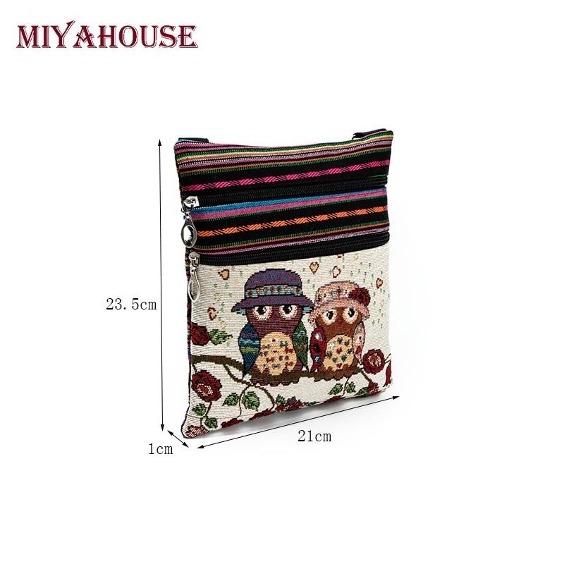 Miyahouse Double Zipper Female Mini Flap Shoulder Handbags Cartoon Owl Printed Canvas Bags Women Small Shoulder Messenger Bags
