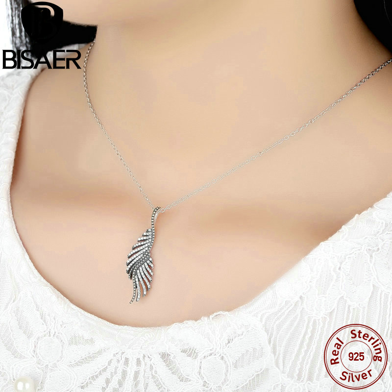 b9c2672690fda Special Style Exquisite 925 Sterling Silver Majestic Feathers, Clear CZ  Female Necklaces & Pendants Fashion Collares EDN005-in Pendant Necklaces  from ...