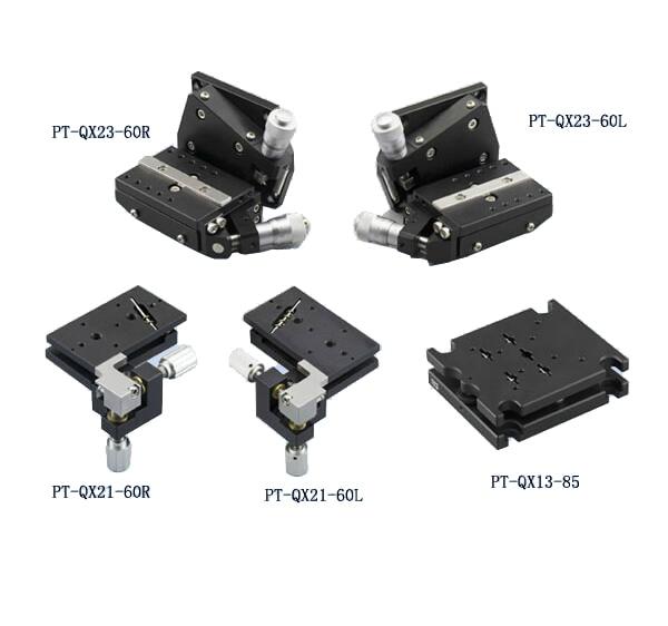 PT QX21 60R/L, PT QX23 60R/L Two Axis High Load Tilt Platform, Precise Manual Tilt Stage