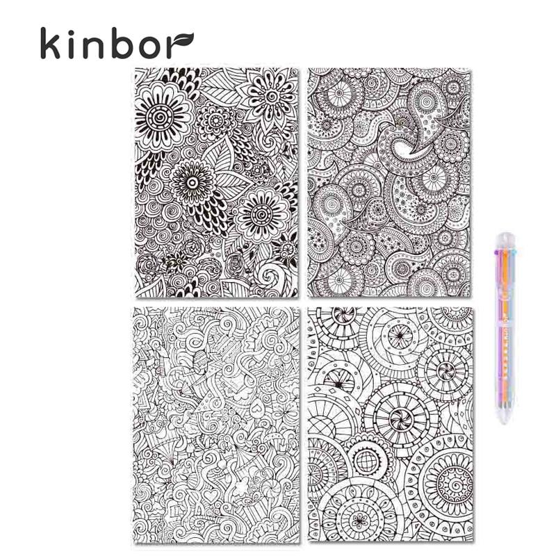 Kinbor cuadernos para colorear para adultos creativos 4 - Libros para relajarse ...