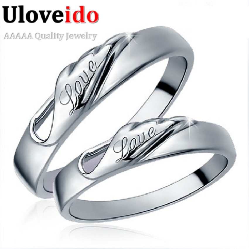 Special Designer 2Pcs Wedding Rings for Men Women Charms Love Jewelry Engagement Silver Marriage Ring for Lovers Uloveido J206
