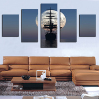 Moon Boat Modern Home Wall Decor Canvas Picture Art Print WALL Painting Set Of 5 Each