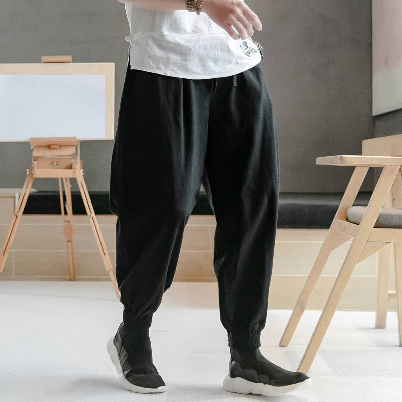 Trousers Men Sweatpants Chinese-Style Harem Male Joggers Loose Cotton Linen Plus-Size