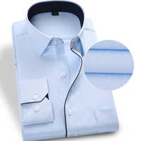 Men Shirt Male Dress Striped Shirts Mens Casual Long Sleeve Business Formal Twill Solid Formal Business Shirt S-9XL