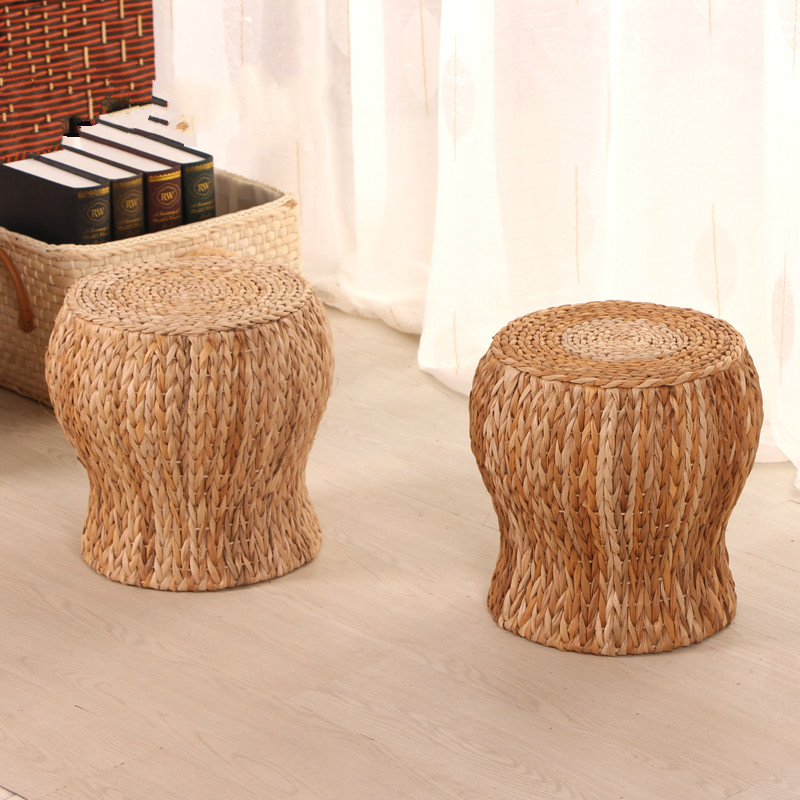 Furniture Rush Grass Footstool Round Rattan Stool Solid