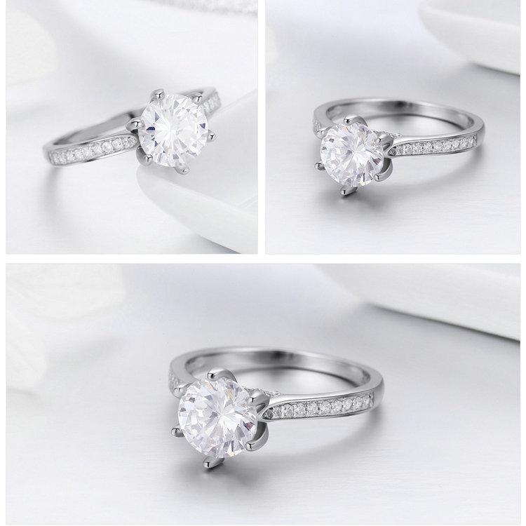 HTB1sdE.fwKTBuNkSne1q6yJoXXah BAMOER High Quality 925 Sterling Silver Wedding Ring Princess Square CZ Finger Rings for Women Silver Engagement Jewelry SCR342