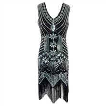 Paillette Sequins Tassel Dress Deep V Neck Vest Dresses Women 1920's Style Flapper Vintage Gatsby Charleston Vestidos Dropship