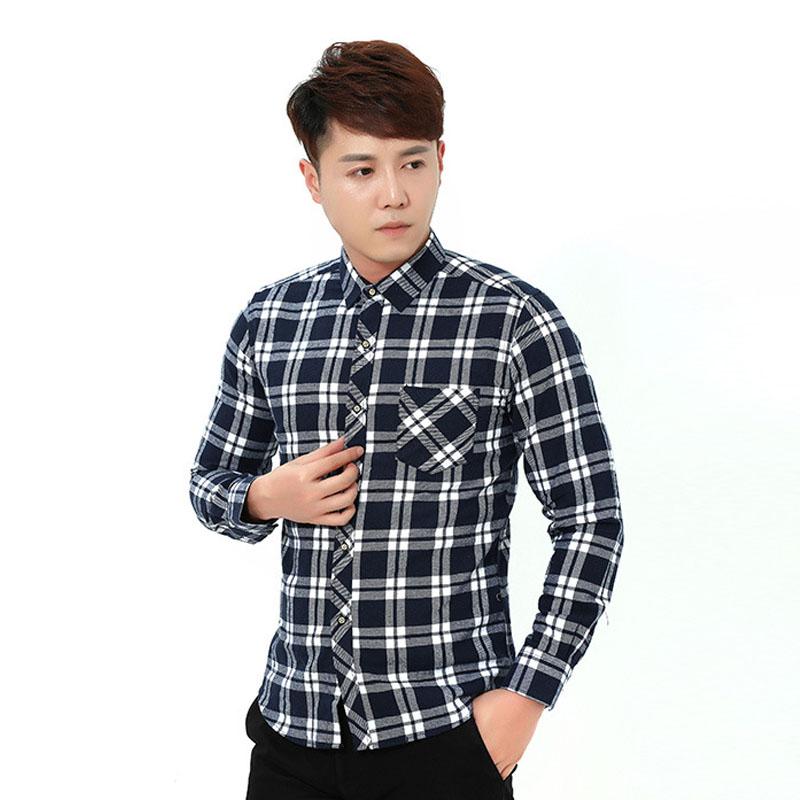 Classic mens casual shirts Long Sleeve Business Slim Fit red Plaid Shirt Youth Dress Soft men checkered shirt Clothes 4XL ML39