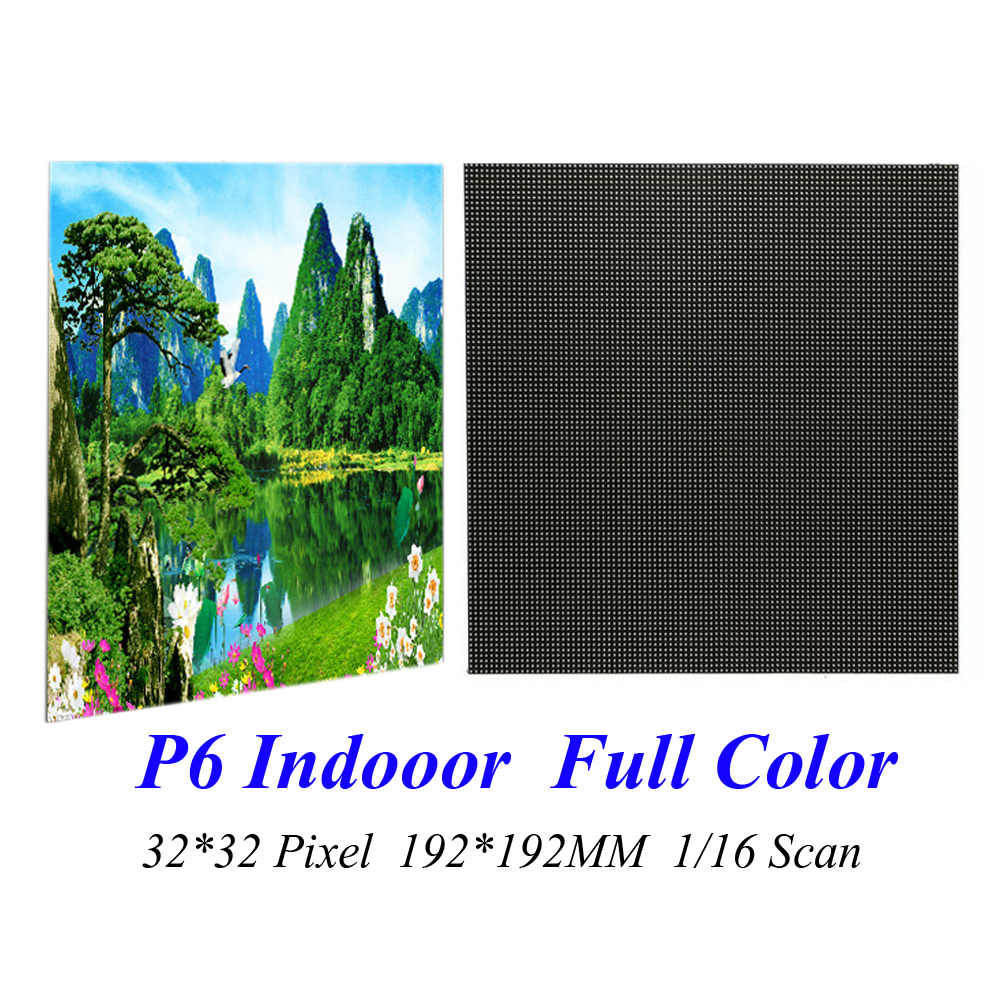 LED Display P6 192*192MM 32*32 Pixel 1/16 Scan 3 in1 SMD3528 RGB Full Color LED Module Screen Board Signs Indoor led screen indoor display p4 256 128mm 64 32 pixel 1 8 scan 3 in1 smd2121 rgb full color led module dot for led video wall sign