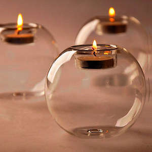 Glass Candlestick Crystal Home-Decor Europe-Style Round Fine Hollow Dining Transparent