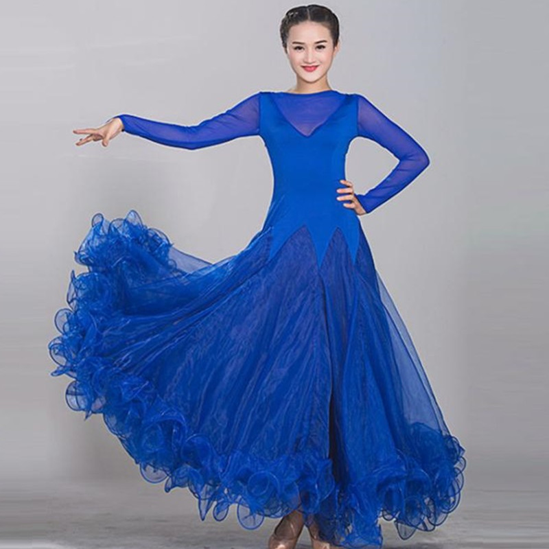 9 Colors Ballroom Dance Dresses Lady's High Quality Simple Style Blue Tango Waltz Dancing Skirt Ballroom Dance Competition Dress