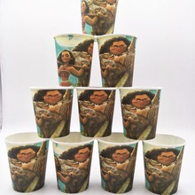 10pcs/lot MoanaParty Supplies Paper Cup Cartoon Birthday Decoration Baby Shower Theme For Kids Boys